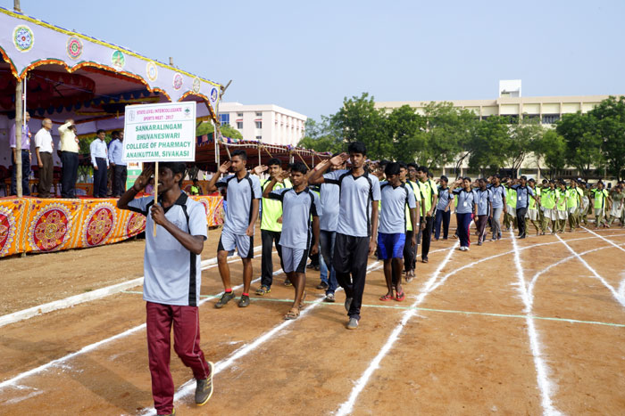March Past - State Level Intercollegiate Sports Meet Sponsored by The Tamil Nadu Dr. MGR Medical University, Chennai, on 08 - 10 Dec 2017